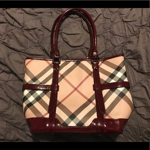 Burberry Red/Plaid Zipper Tote- Incredible!
